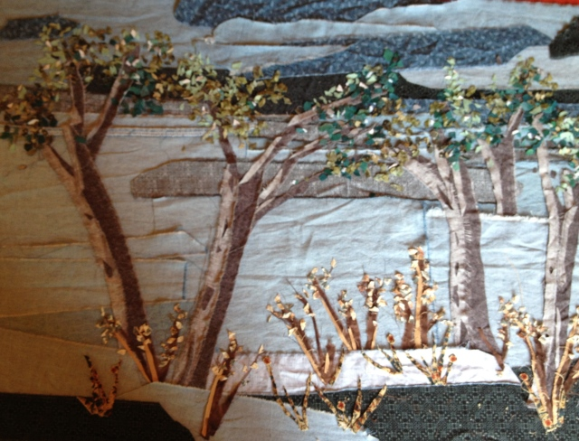 Adding snippets of fabric for leaves